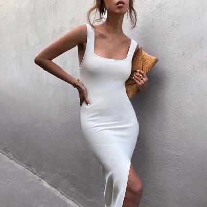 Sexy Slim Slit Square Neck Vest Slit Long Dress NSFLY62126