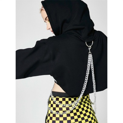Hooded Chain Cropped Fashion Sexy Chain Top NSFLY62138