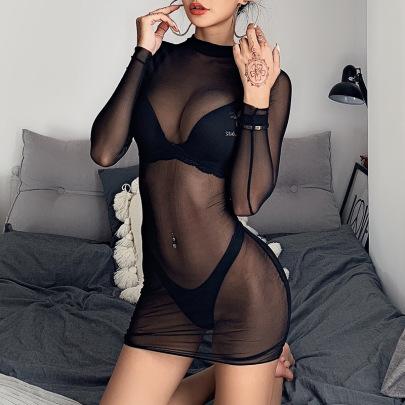 Mesh Sexy See-through Long-sleeved Skirt NSFLY62142