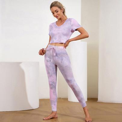 Short-sleeved Hip-lifting Comfortable Yoga Clothing Set NSLM62165