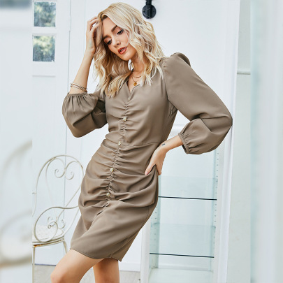 V-neck Pleated Long-sleeved Pure Color Dress  NSLM62171