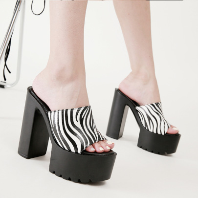 New Super High-heeled Thick Heel Striped Slippers NSSO62181