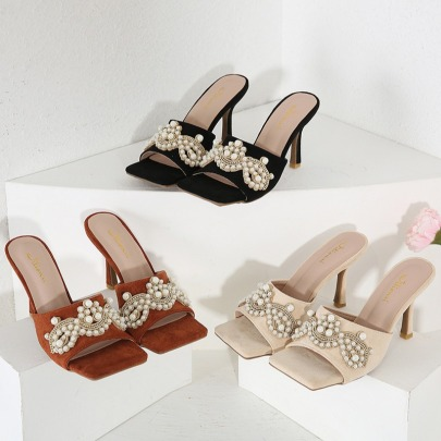 Summer New Rhinestones And Pearl Beaded Square Toe High-heeled Slippers NSSO62183