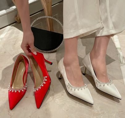 New Style Pointed Toe Pearl Rhinestone High-heel Shoes NSSO62184