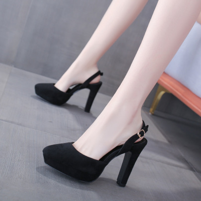 New Style Pointed Toe High-heeled Thick-heeled Sandals NSSO62186