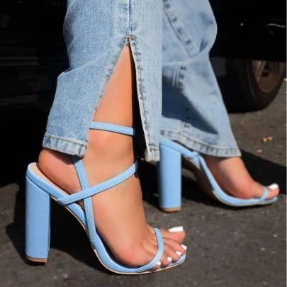 New Thick Heel Elastic Square Toe High Heel Open Toe Sandals NSSO62189
