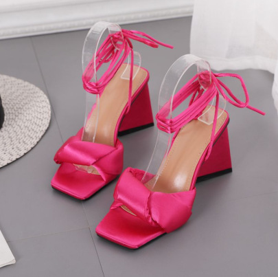 New Triangle Heel High-heel Strap Silk Square Toe Sandals NSSO62190