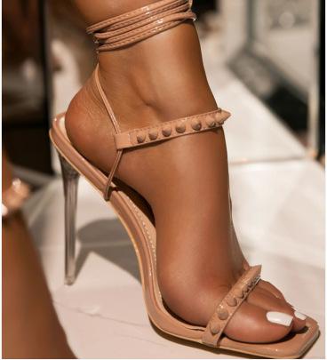 New Crystal Heel Rivet Straps Square Toe Stiletto NSSO62193