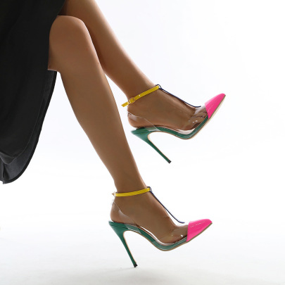 New Style T-buckle Pointed Toe Color Matching Stiletto NSSO62194