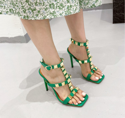 New Heels Rivet One Word With Temperament Sandals NSSO62195