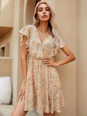 New Yellow Summer Printed Flower Dresses NSCAI62449