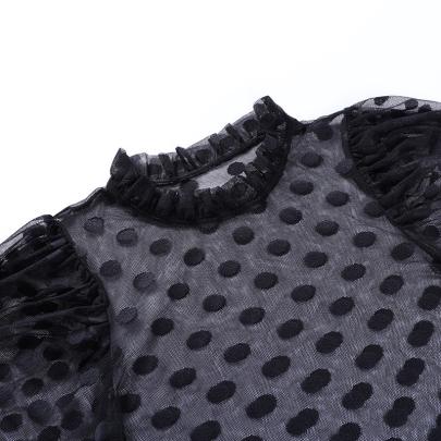 Stand-up Collar Gauze Shirt NSYID62442