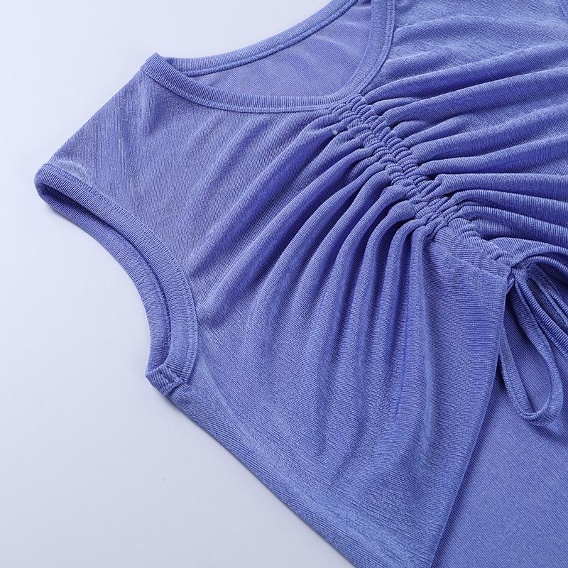 Drawstring exposed navel sleeveless fake top temperament dress NSYID62439