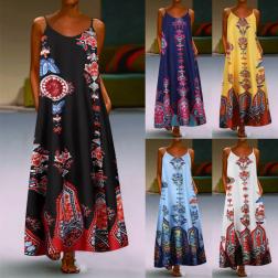 Summer Fashion Sling Print Sleeveless Dress NSSUO62435