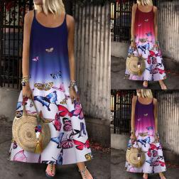 Summer Fashion Sleeveless Printed Sling Dress NSSUO62433