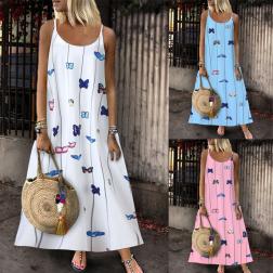 Summer Fashion Sleeveless Butterfly Print Sling Long Dress NSSUO62432