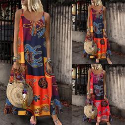 Summer Sleeveless Printed Retro Sling Long Dress NSSUO62431