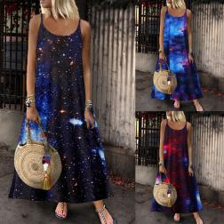 Summer new fashion sleeveless star print suspender dress NSSUO62430