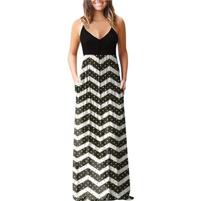 Summer Fashion Suspender V-neck Slim Printed Dress NSSUO62427