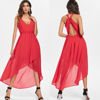 Summer Sleeveless V-neck Lace Sling Irregular Backless Chiffon Dress NSSUO62426