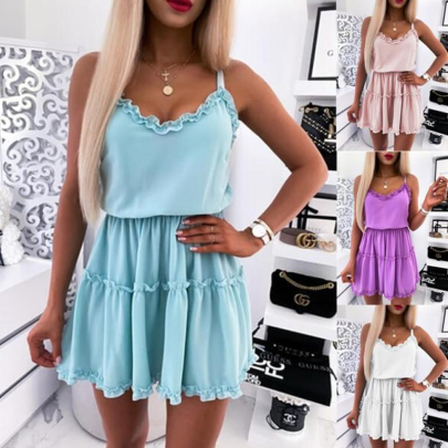 Summer Solid Color Pleated Sleeveless Sling Waist Dress NSSUO62424