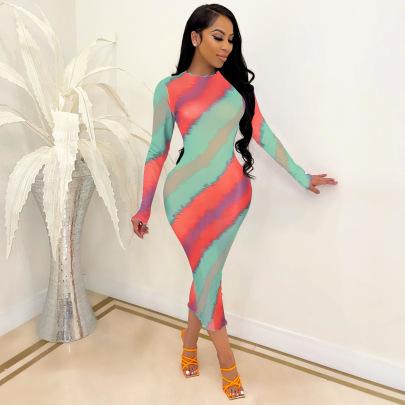 Mesh Printed Neckline Hem Dress NSCQ62227
