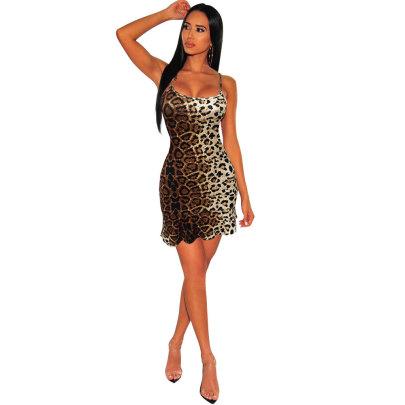 Digital Printing Leopard Print Suspender Dress NSCQ62239