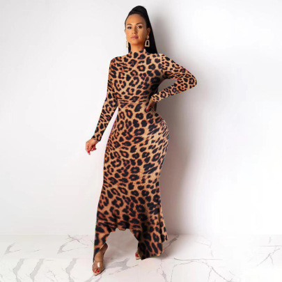 Spot High Neck Irregular Hem Slim Long Sleeve Dress NSWNY62252