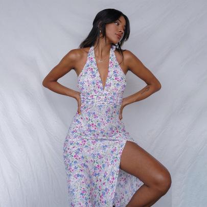 Summer New V-neck Open Back Beach Long Skirt  NSAG62279