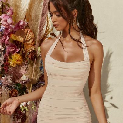 Summer New One-line Neck Halter Skirt NSAG62285