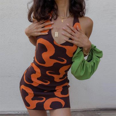 New Fashion Printed Thin Knitted Dress NSLQ62315