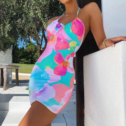 Summer New Tight-fitting Lace-up Halter Neck Dress NSLQ62320