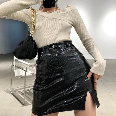 Summer New Slim And Split Leather A-line Skirt NSLQ62321
