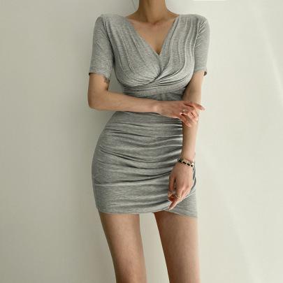 Summer New Waist And Thin V-neck Fold Dress NSLQ62329