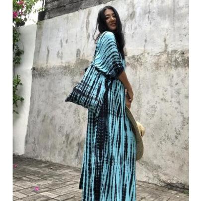 Fashion V-neck Printed Long Skirt NSZH62363