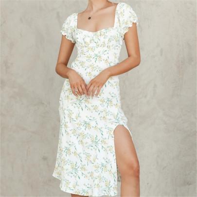 Retro Square Neck Puff Sleeve Back Elastic Waist Long Dress NSAC62367