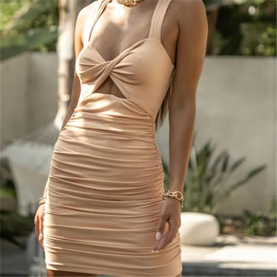 Tight-fitting Pleated Slim-fit Suspender Dress NSAC62368