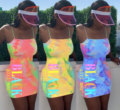 Tie-Dye Letter Print Sling Dress NSFZ62389