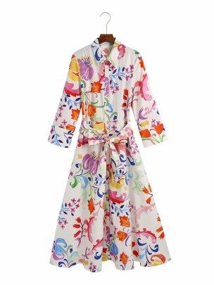 Long-sleeved Lapel Printed Midi Large Swing Dress NSAM62392