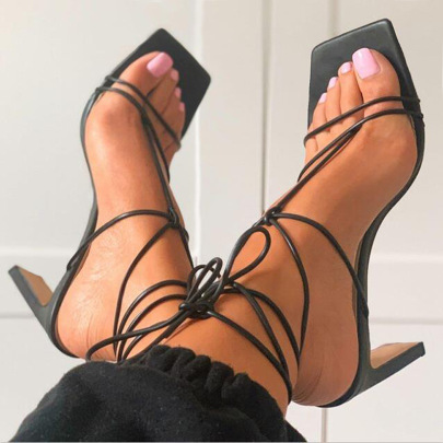 Square Toe Heel Lace-up Straps Sandals NSCA62398