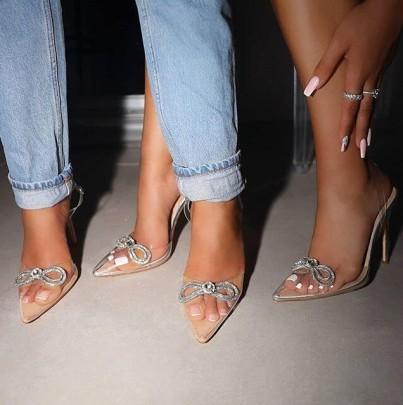 Diamond Bow Transparent High Heels Pointed Toe Stiletto Sandals NSCA62403
