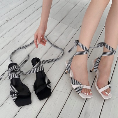 Straps Color Matching Square Toe Open-toe Sandal NSSO62419