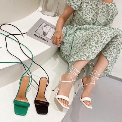 Cross Strap Stiletto Square Toe Sandals NSSO62420