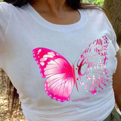 New Butterfly Print Short-sleeved T-shirt NSAIT62577