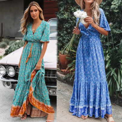 Summer V-neck Lace-up Print Long Dress NSSUO62567
