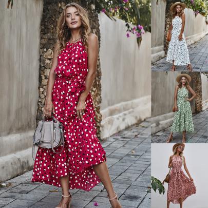 Summer Halter Back Polka Dot Irregular Big Swing Suspender Dress NSSUO62564