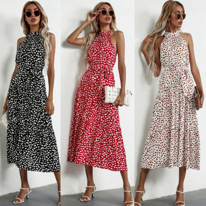 Summer Fashion Polka Dot Printing Halterneck Strap Sleeveless Dress NSSUO62563
