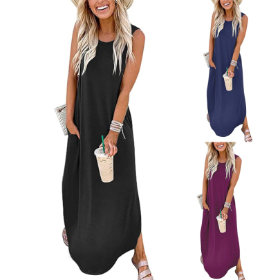 Summer Fashion Loose Round Neck Solid Color Sleeveless Dress NSSUO62561
