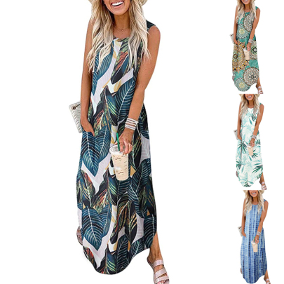 Summer Printed Loose Sleeveless Round Neck Casual Dress NSSUO62559