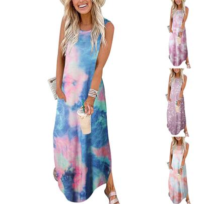 Summer Tie-Dye Printed Round Neck Loose Sleeveless Dress NSSUO62558